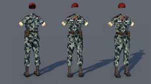 3D model military uniform costume outfit