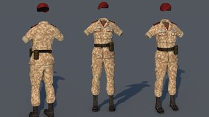 3D military outfit costume uniform