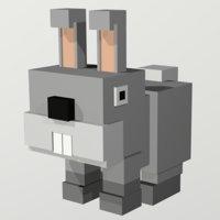 low poly rabbit Voxel rabbit