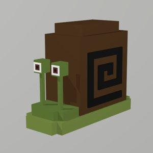 3D model snail voxel