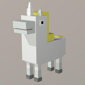 3D model unihorn voxel