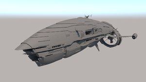 sci fi space liner 3D
