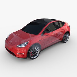 tesla y awd chassis 3D model