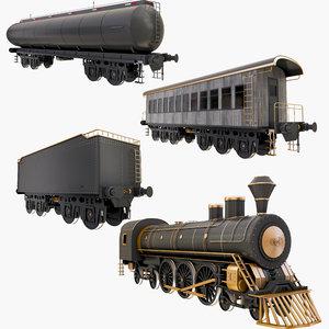 rail cars train 3D
