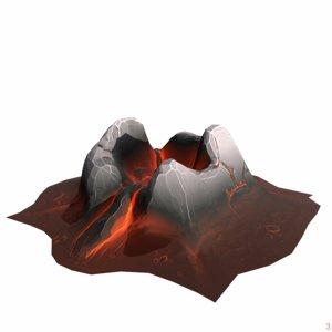 stylized mountain 3D model