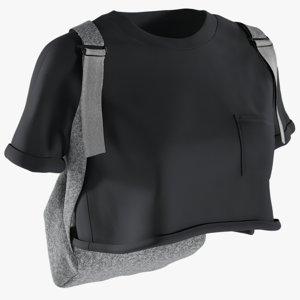 realistic women s tshirt 3D model