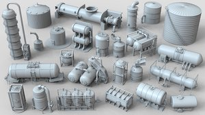 3D 25 pieces industrial tanks