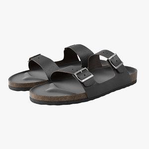 realistic black leather sandals 3D