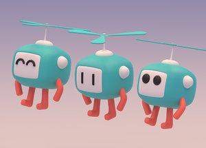 3D lovely cartoon flying robot model