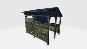 gubuk kayu 3D model