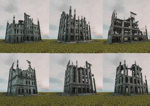 3D destroyed building architectural model