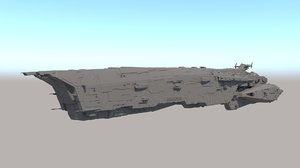 3D model sci fi space battleship