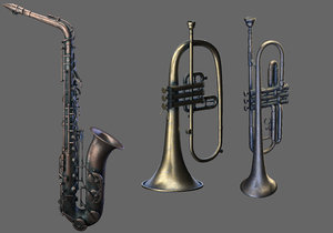 3D wind instruments 3 saxophone