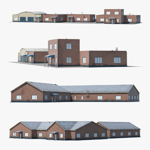 factory buildings 3D