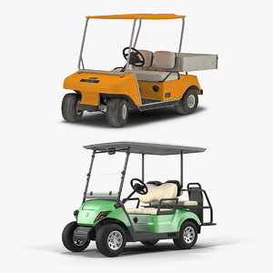 3D model rigged golf carts vehicle car