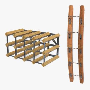 wooden wine racks 3D