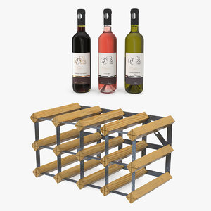 wooden wine racks bottles 3D model