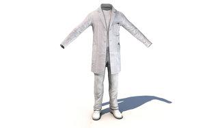 3D scientist costume outfit uniform model