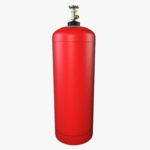red propane gas cylinder 3D