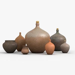3D set old ceramic vessels