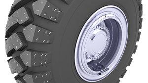 3D model tire post apocalyptic