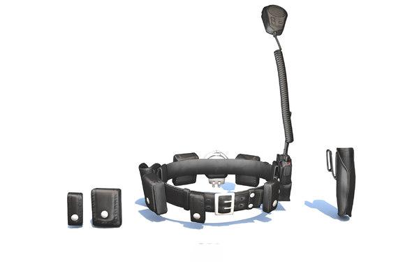 police officer gun belt 3D model