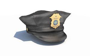 police officer hat black 3D