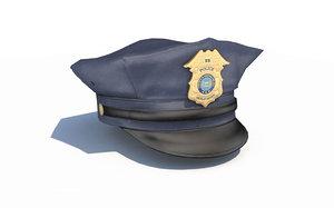 3D police officer hat blue