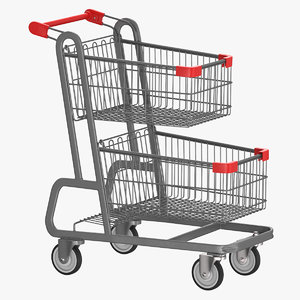 3D metal shopping cart 02