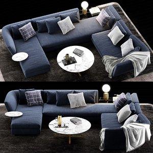 3D model minotti seymour sofa 3