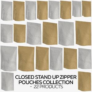 3D closed stand zipper pouches