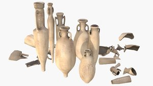 asset amphoras - terracotta 3D model