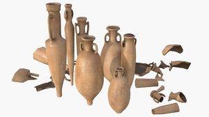 asset amphoras - terracotta 3D