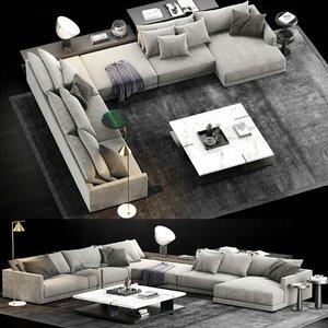 poliform bristol sofa 2 3D model