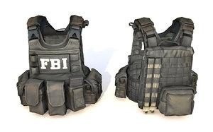 3D fbi vest black model