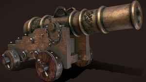 antique cannon naval 3D
