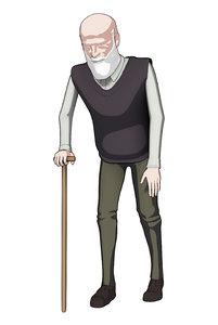 3D toon anime grandfather