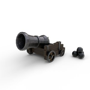stylized pirate cannon 3D