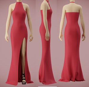 halter neck dress slit 3D