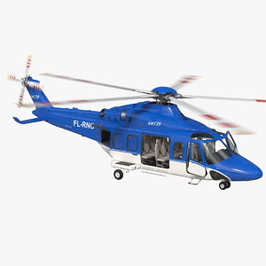 agustawestland aw139 helicopter rigged 3D