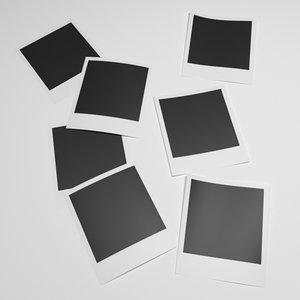 3D polaroid pictures photo model