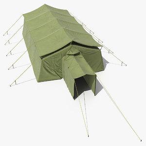 military temper tent green 3D model