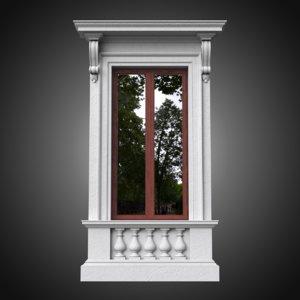 3D model classical window frame pedestal