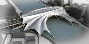 3D model concept bridge guangzhu