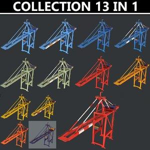 3D 2 color quayside crane