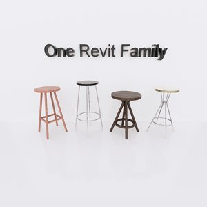 bar chair revit family 3D model