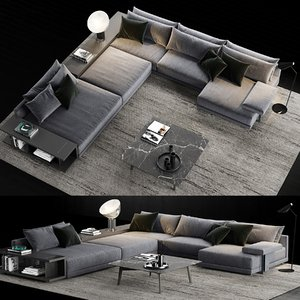 3D model poliform bristol sofa coffee table