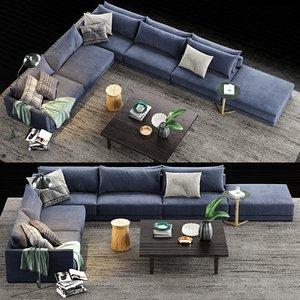 3D poliform bristol sofa coffee table model