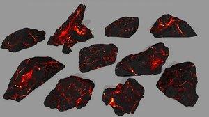 3D model lava rocks