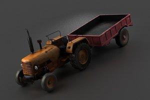 3D farm vehicles tractors four-wheel